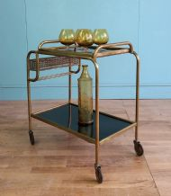 Mid century brass drinks trolley - SOLD
